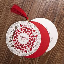Wedding Invitations Card 15.4cm Chinese Style Diameter Floral Design Envelope Pure Love Red White Elegant Round Party Supplies