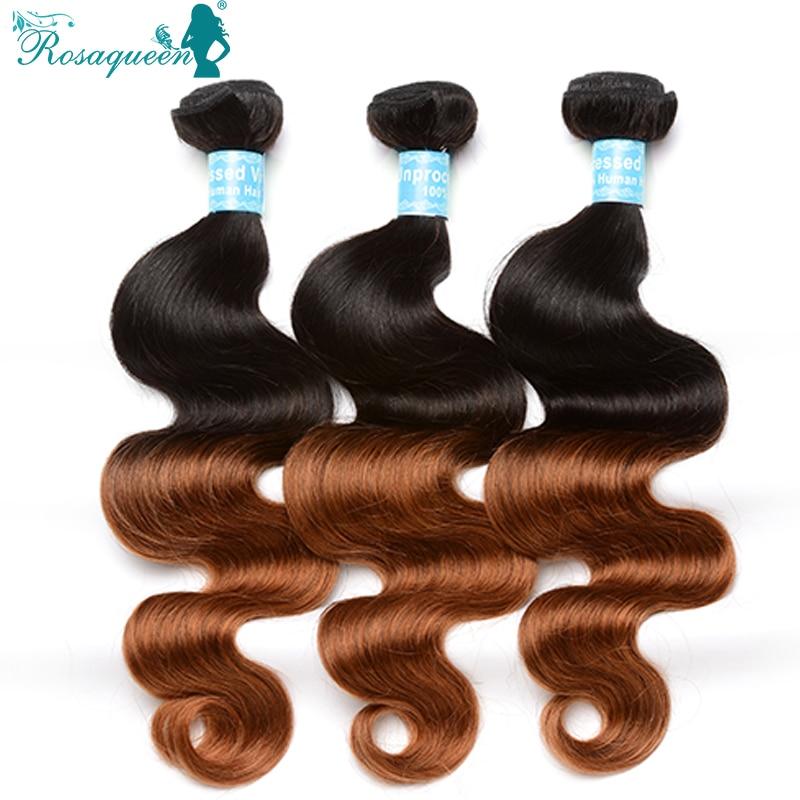 Rosa Queen Hair Products Ombre Human Hair Eurasian Virgin Hair Ombre Virgin Extensions Body Wave 1B/30 3 Pieces/Lot<br><br>Aliexpress