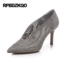 European Vintage Crystal Pointed Toe Thin 2017 Pumps Women Leather Grey Shoes High Heels Small Size Silver 4 34 Rhinestone