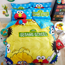 sesame street cartoon style yellow bedding sets 100% cotton linens Twin/Queen Size 3/4pcs duvet cover+bedsheet+pillowcase