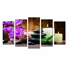 5pcs/set Bamboo  Stone Black Spa Zen Stone Pictures Prints on Canvas Walls Art Work Modern Giclee Wall Artwork