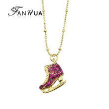 FANHUA Bijoux Women Gold Color Chain Hotpink Cute Ice Skate Shoes Pendant Necklace Costume Jewelry(China)