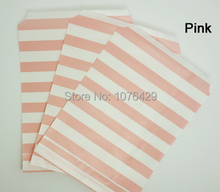 25 Pcs Pink Horizontal Stripes Treat Craft Bags Favor Food Paper Bags Party Wedding Birthday Decoration Color 2