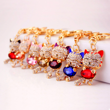 LNRRABC Cat Women Bag Keychain Holder Gold Color Rhinestones Women Handbag Charm Metal Key Chains Key Rings Pendant llaveros