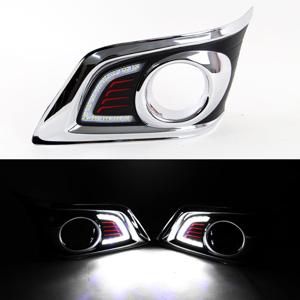 DRL Daytime Running Light for Toyota Hilux Vigo 2012 2013 2014 Front Left and Right Fog Light Chrome Cover with Switch <br>