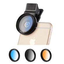 37MM Professional 3-Piece Phone Camera Lens Filter Set for iPhone Samsung Galaxy & Android Smartphones (Blue / Gray / Orange)