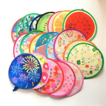 Free shipping (6pcs/lot)Various Nylon Portable Folding Fan for party gift Frisbee Fan cool summer lovely hand fan/Flying disk
