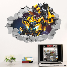 Hot sale 3D transformers wall stickers home decor living room mirror wall stickers for kids rooms wall stickers bedroom