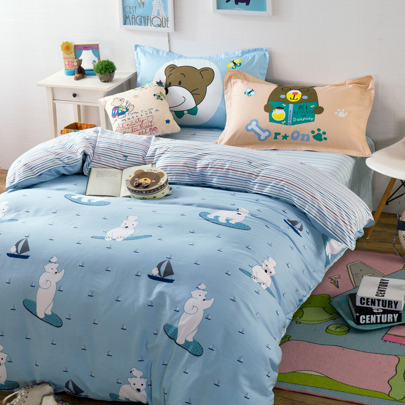 Polar Bears Sailboat Pattern Linens Bedding Sets 100 Cotton Single Twin Queen Double Size