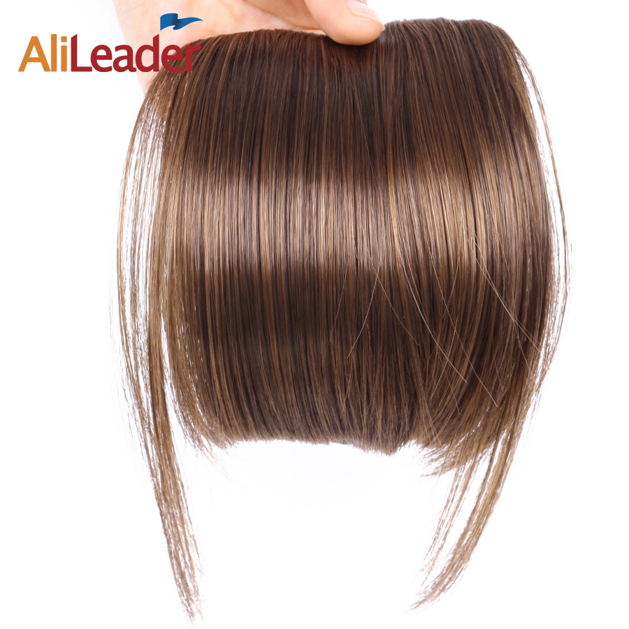 AliLeader Fake Fringe Bangs Clip Ons 6 Inch Short Straight Front Neat Wedding Synthetic Hair Pieces Bangs Women