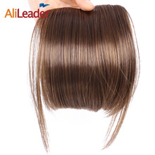 AliLeader Fake Fringe Bangs Clip Ons 6 Inch Short Straight Front Neat Wedding Synthetic Hair Pieces Bangs For Women(China)