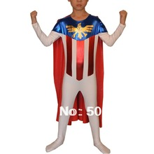Free Shipping High Quality Wholesale American Brand AE Lycra Spandex Childrens Superhero Costume Zentai Fancy Dress KC2041