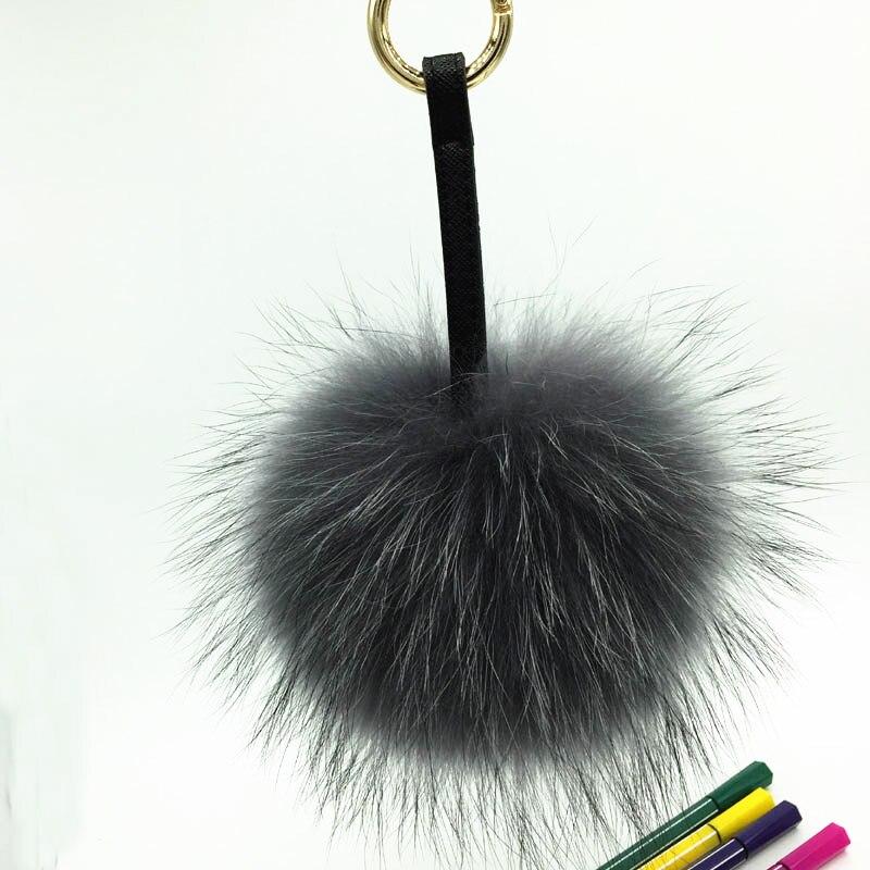 raccoon fur pompom grey 1