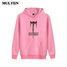 New Brand 2017 Summer Latest Men Pink Hoodies Marilyn Manson Design Hooded Sweatshirt Moleton Masculino High Quality Clothing