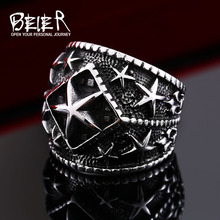 Beier new store 316L Stainless Steel ring Fashion Pentacle Ring High Quality Wholesale Men Jewelry LLBR8-357R(China)