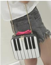 1 piece women bow black and white keyboard Patchwork shoulder bag handbag unique Piano messenger bag with gold chain(China)