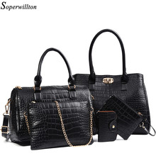 Soperwillton Brand New Women Bag Alligator Print Handbags Shoulder Bag PU Leather Female bags China and Russia Warehouse #669