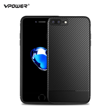 For iPhone 8 Case iPhone 7 Cover Vpower Carbon Synthetic Fiber Soft Silicone Phone Cases for Apple iPhone 7 / 8 Plus Back Covers(China)