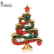 Crystal Christmas Tree Brooches Gift for the New Year Full Colorfull  Rhinestones Scarf Clip Christmas Brooch Pins e35969885e43