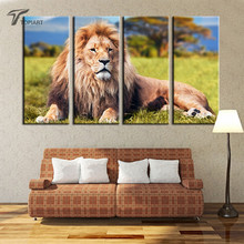 4 Panel Canvas Art Animal Lion Painting African Veld Large Decor Canvas Print Living Room Wall Pictures No Frame 2016 New