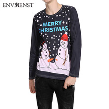 2017 Brand New T Shirt Men Christmas Tree Snowman 3d print Casual Long Sleeve T-shirts New Autumn Cheap o-neck Male Tops Tees(China)