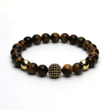 Fashion Gold-color Brass Disco Ball Bracelets Men Yellow Tiger Eye Stone Beads Bracelet for men Jewelry Pulseira Masculina DS-1