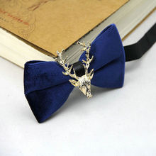 Luxury 2018 Brand Men Boy Gold Velvet Stylish Banquet Bow Tie Solid New Deer Head Butterfly Necklace Suits Wedding Party Bowties(China)