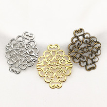 20 pieces/lot 36mmx30mm Gold color/White K/Antique bronze Metal Filigree Flowers Slice Charms Setting Jewelry DIY Components