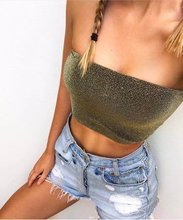 5 Colors Sexy Slash Bling Bling Sparkle Women Tank Top Off Shoulder Beach Summer Camis Tube Crop Tops Women Strapless Cropped(China)