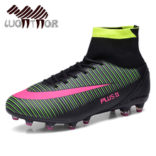 LUONTNOR Professional Mens Football Boots High Ankle Cleats Soccer Shoes Training Football Ankle Boots Long Spikes Big Size 46(China)