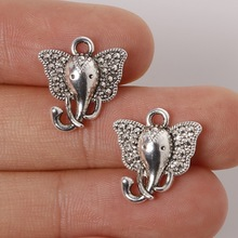 Hot 15*16mm 14pcs Zinc Alloy Elephant Charms Antique Silver Plated Charms Pendants Vintage Jewelry Findings Accessories