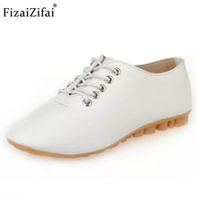 FizaiZifai Size 35-40 Women Shoes Flats Lace Up Leisure Daily Party For Women Footwears Round Toe Working Women Flats(China)