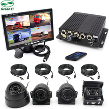 "GreenYi 4CH H.264 Car Vehicle DVR Video Recorder Box With 7"" Car Monitor Sony CCD Front Rear Camera For Truck Van Bus"