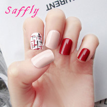 Free shipping 24pcs/box red False Fingernails New Faux Ongles Printed Acrylic Nail Tips Art Design Fake Nails with Glue sticker