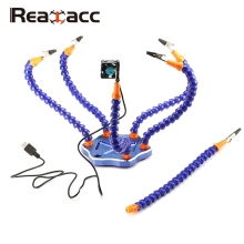 Realacc Strange Third Hand Six Arm Soldering Station With USB Fan For RC Models Helicopter Camera Drone Toys Accessories