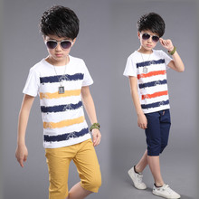 Boys Fashion Casual Sport Costume 2017 New Children Clothing Cotton Kids Boy Striped Clothes Set T-shirts + Short Pants Sets
