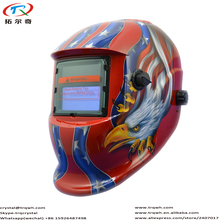 Fast Shipping Red Owl American Eagle Decal Welding Helmet Auto Darkening Solar Lithium Battery Head Protective TRQ-HD10-2200DE