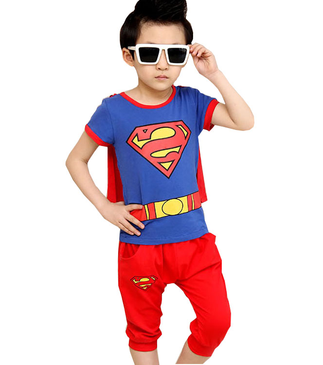 childrens clothing summer models boy cotton sports and leisure equipment Superman send cloak short-sleeved baby boy clothes<br><br>Aliexpress