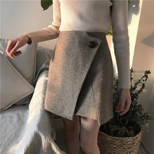 Buy 2017 women's autumn winter wool A-line mini skirt female zipper irregular length split single button solid skirt faldas for $18.98 in AliExpress store