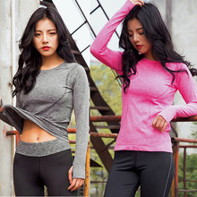Women shirts Fitness Long Sleeve Quick Dry Shirt Blouse Top ropa mujer Sweatshot female tracksuit camisetas mujer blusas(China)