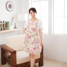 Women Bib Cooking Apron Cotton Fabric Apron with Flower Printed Household Cleaning Tools