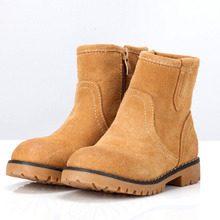 2016 Vintage Children Winter Boots Cowboys Suede Warm Boots with Fur Western Style Girls Boys Boots Kids Shoes High Quality