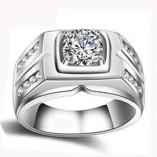 YANHUI Original Natural 925 Silver Rings For Men Sona 1 Carat Diamant Engagement Rings Cubic Zirconia Wedding Rings Men Jewelry(China)
