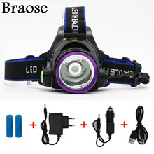 3000 Lumens CREE XM-L XML T6 LED Hunting Headlamp Headlight Flashlight Head Lamp Light + 2*18650 battery + charger + Car Charger