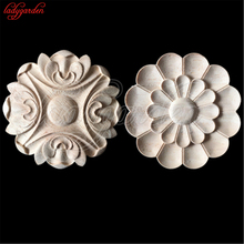 5CM Wood Carved Corner Woodcarving Decal Onlay Applique Decorative Sculpture for Home Furniture Cabinets Decorative Figurine(China)