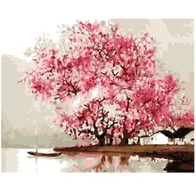 SAKURA Cherry Tree Oil Painting By Number 40x50cm Picture On Wall Acrylic DIY Drawing By Numbers Unique Gift szyh137(China)