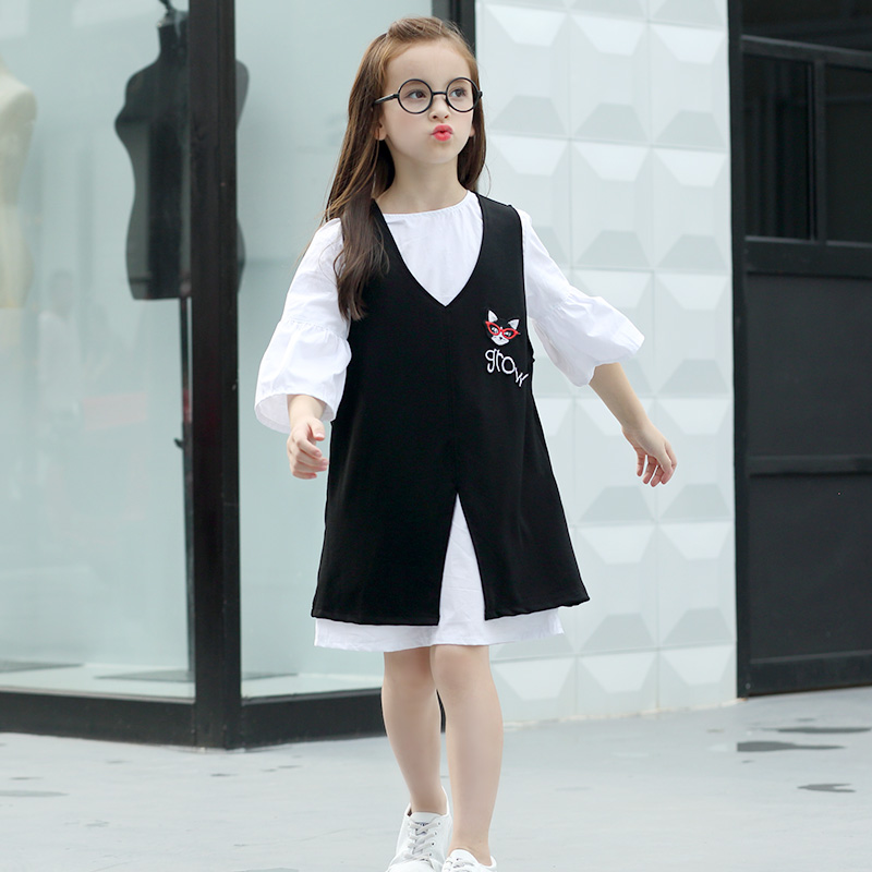LouisDog Teen Girls Dress Student Style Cartoon Vest Dresses+White Half Sleeve Shirts Two Piece Dresses for 12 13 14 Big Child<br>