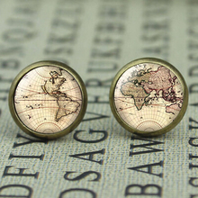 New US Movie Map Brass Post Man Women Glass Punk Jewelry Stud doctor who Map 1pcs/lot The arrow vintage steampunk friends gift