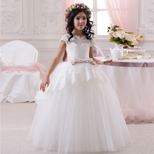 Satin White Dresses V-Neck And Ankle length Pageant Dresses for Little Girls Evening Gowns Vestidos de Primera Comunion 2016(China)