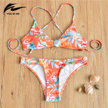 Hot Retro Cross Strappy Style Female Bikini Sets Floral Printed Orange Swimwear Brazilian Bottom Monokini Ladies Swim Swimsuit